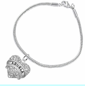 """<BR>  THE """"PERFECT GIFT"""" FOR YOUR ABUELITA  <BR>   CRYSTAL """"ABUELA"""" EXCLUSIVELY OURS!!  <br>                        HYPOALLERGENIC  <BR>         NICKEL, LEAD & CADMIUM FREE!!  <BR>   W1759B7 - """"ABUELA"""" CRYSTAL HEART ON  <BR>      SILVER TONE SNAKE CHAIN BRACELET  <BR>            FROM $5.98 TO $12.85 ©2015"""
