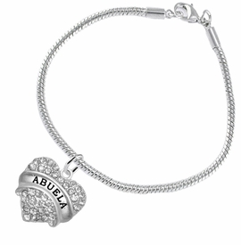"<BR>  THE ""PERFECT GIFT"" FOR YOUR ABUELITA  <BR>   CRYSTAL ""ABUELA"" EXCLUSIVELY OURS!!  <br>                        HYPOALLERGENIC  <BR>         NICKEL, LEAD & CADMIUM FREE!!  <BR>   W1759B7 - ""ABUELA"" CRYSTAL HEART ON  <BR>      SILVER TONE SNAKE CHAIN BRACELET  <BR>            FROM $5.98 TO $12.85 �2015"