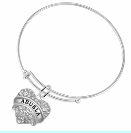 """<BR>  THE """"PERFECT GIFT"""" FOR YOUR ABUELITA  <BR>   CRYSTAL """"ABUELA"""" EXCLUSIVELY OURS!!  <br>                        HYPOALLERGENIC  <BR>         NICKEL, LEAD & CADMIUM FREE!!  <BR>   W1759B9 - """"ABUELA"""" CRYSTAL HEART ON  <BR>   ADJUSTABLE SOLID THIN WIRE BRACELET  <BR>            FROM $5.98 TO $12.85 ©2015"""