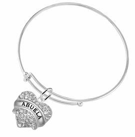 "<BR>  THE ""PERFECT GIFT"" FOR YOUR ABUELITA  <BR>   CRYSTAL ""ABUELA"" EXCLUSIVELY OURS!!  <br>                        HYPOALLERGENIC  <BR>         NICKEL, LEAD & CADMIUM FREE!!  <BR>   W1759B9 - ""ABUELA"" CRYSTAL HEART ON  <BR>   ADJUSTABLE SOLID THIN WIRE BRACELET  <BR>            FROM $5.98 TO $12.85 �2015"