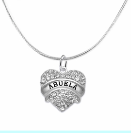 """<BR>  THE """"PERFECT GIFT"""" FOR YOUR ABUELITA  <BR>   CRYSTAL """"ABUELA"""" EXCLUSIVELY OURS!!  <br>                        HYPOALLERGENIC  <BR>         NICKEL, LEAD & CADMIUM FREE!!  <BR>   W1759N2 - """"ABUELA"""" CRYSTAL HEART ON  <BR>       SILVER TONE SNAKE CHAIN NECKLACE  <BR>            FROM $5.98 TO $12.85 ©2015"""