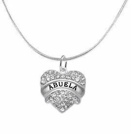 "<BR>  THE ""PERFECT GIFT"" FOR YOUR ABUELITA  <BR>   CRYSTAL ""ABUELA"" EXCLUSIVELY OURS!!  <br>                        HYPOALLERGENIC  <BR>         NICKEL, LEAD & CADMIUM FREE!!  <BR>   W1759N2 - ""ABUELA"" CRYSTAL HEART ON  <BR>       SILVER TONE SNAKE CHAIN NECKLACE  <BR>            FROM $5.98 TO $12.85 �2015"