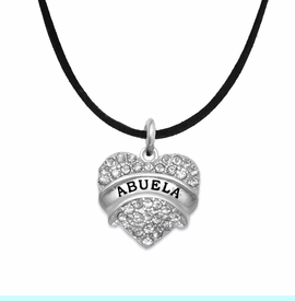 """<BR>  THE """"PERFECT GIFT"""" FOR YOUR ABUELITA  <BR>   CRYSTAL """"ABUELA"""" EXCLUSIVELY OURS!!  <br>                        HYPOALLERGENIC  <BR>         NICKEL, LEAD & CADMIUM FREE!!  <BR>   W1759N3 - """"ABUELA"""" CRYSTAL HEART ON  <BR>      BLACK SUEDE LEATHERETTE NECKLACE  <BR>            FROM $5.98 TO $12.85 ©2015"""