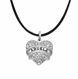 "<BR>  THE ""PERFECT GIFT"" FOR YOUR ABUELITA  <BR>   CRYSTAL ""ABUELA"" EXCLUSIVELY OURS!!  <br>                        HYPOALLERGENIC  <BR>         NICKEL, LEAD & CADMIUM FREE!!  <BR>   W1759N3 - ""ABUELA"" CRYSTAL HEART ON  <BR>      BLACK SUEDE LEATHERETTE NECKLACE  <BR>            FROM $5.98 TO $12.85 �2015"