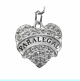 """<B>PARALEGAL FISHHOOK EARRING</B><BR>     <BR>   <BR> LEAD, NICKEL & CADMIUM FREE!! <BR>     W1768E1 - ANTIQUED SILVER TONE AND <BR>     CLEAR CRYSTAL """"PARALEGAL"""" HEART CHARM <BR>     EARRING  $10.68  EACH  �2013"""
