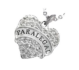 "<B>PARALEGAL  ADJUSTABLE CABLE CHAIN NECKLACE</B><BR>     <BR>   <BR> LEAD, NICKEL & CADMIUM FREE!! <BR>     W1768N1 - ANTIQUED SILVER TONE AND <BR>     CLEAR CRYSTAL ""PARALEGAL"" HEART CHARM <BR>      NECKLACE  $9.68  EACH  �2013"