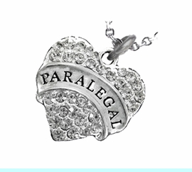 """<B>PARALEGAL  ADJUSTABLE CABLE CHAIN NECKLACE</B><BR>     <BR>   <BR> LEAD, NICKEL & CADMIUM FREE!! <BR>     W1768N1 - ANTIQUED SILVER TONE AND <BR>     CLEAR CRYSTAL """"PARALEGAL"""" HEART CHARM <BR>      NECKLACE  $9.68  EACH  �2013"""