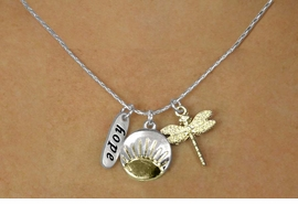 "<bR>    W17741N - SILVER TONE SNAKE CHAIN<Br>     ""HOPE"", SUN RISE AND DRAGON FLY<BR>          NECKLACE FROM $5.06 TO $11.25"