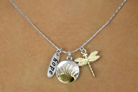 """<bR>    W17741N - SILVER TONE SNAKE CHAIN<Br>     """"HOPE"""", SUN RISE AND DRAGON FLY<BR>          NECKLACE FROM $5.06 TO $11.25"""