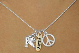 """<bR>    W17745N - SILVER TONE SNAKE CHAIN<Br>          """"PEACE"""" PEACE SIGN AND DOVE<BR>        NECKLACE FROM $5.06 TO $11.25"""