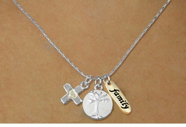 "<bR>    W17746N - SILVER TONE SNAKE CHAIN<Br>           ""FAMILY"" CROSS AND TREE<BR>      NECKLACE FROM $5.06 TO $11.25"