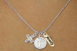 """<bR>    W17746N - SILVER TONE SNAKE CHAIN<Br>           """"FAMILY"""" CROSS AND TREE<BR>      NECKLACE FROM $5.06 TO $11.25"""