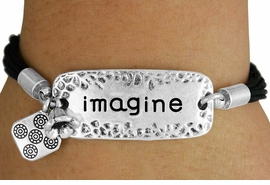 "<bR>    W17749B - SILVER TONE AND BLACK CORD<Br> ""IMAGINE"" BRACELET FROM $6.75 TO $15.00"