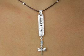 """<bR>    W17752N - BROWN CORD """"SERENITY""""<Br>            AND DRAGONFLY NECKLACE <BR>                 FROM $4.50 TO $10.00"""