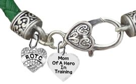 <BR><B>MOM OF A HERO IN TRAINING<br>ARMY ROTC BRACELET</B><br>      <br></B>GENUINE GREEN WOVEN LEATHER BRACELET <BR>NICKEL, LEAD, AND POISONOUS CADMIUM FREE<br>W1788-1787B35  $11.68 EACH  �2019