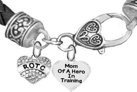 <BR><B>MOM OF A HERO IN TRAINING<br>ARMY ROTC BRACELET</B><br>      <br></B>GENUINE BLACK WOVEN LEATHER BAND <BR>NICKEL, LEAD, AND POISONOUS CADMIUM FREE<br>W1788-1787B37  $11.68 EACH  �2019