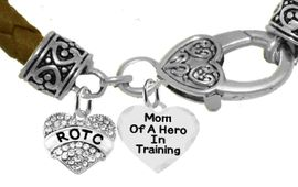 <BR><B>MOM OF A HERO IN TRAINING<br>ARMY ROTC BRACELET</B><br>      <br></B>GENUINE BROWN WOVEN LEATHER BRACELET <BR>NICKEL, LEAD, AND POISONOUS CADMIUM FREE<br>W1788-1787B45  $11.68 EACH  �2019