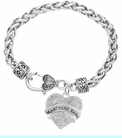 """<BR>            SCHOOL MARCHING BAND JEWELRY     <br>                          HYPOALLERGENIC     <BR>           NICKEL, LEAD & CADMIUM FREE!!     <BR>       W1792B1 - SILVER TONE AND CRYSTAL    <BR>  COVERED """"MARCHING BAND"""" HEART CHARM ON     <BR>     HEART SHAPED LOBSTER CLASP BRACELET    <br>                                 $9.68 �2015"""