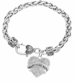 "<BR>            SCHOOL MARCHING BAND JEWELRY     <br>                          HYPOALLERGENIC     <BR>           NICKEL, LEAD & CADMIUM FREE!!     <BR>       W1792B1 - SILVER TONE AND CRYSTAL    <BR>  COVERED ""MARCHING BAND"" HEART CHARM ON     <BR>     HEART SHAPED LOBSTER CLASP BRACELET    <br>                                 $9.68 �2015"
