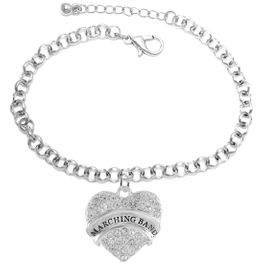 """<BR>           SCHOOL MARCHING BAND JEWELRY     <br>                          HYPOALLERGENIC     <BR>           NICKEL, LEAD & CADMIUM FREE!!     <BR>       W1792B2 - SILVER TONE AND CRYSTAL    <BR>  COVERED """"MARCHING BAND"""" HEART CHARM ON     <BR>       CHAIN LINK LOBSTER CLASP BRACELET    <br>                              $9.68 EACH �2015"""