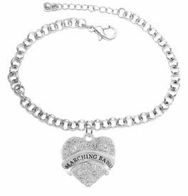 "<BR>           SCHOOL MARCHING BAND JEWELRY     <br>                          HYPOALLERGENIC     <BR>           NICKEL, LEAD & CADMIUM FREE!!     <BR>       W1792B2 - SILVER TONE AND CRYSTAL    <BR>  COVERED ""MARCHING BAND"" HEART CHARM ON     <BR>       CHAIN LINK LOBSTER CLASP BRACELET    <br>                              $9.68 EACH �2015"