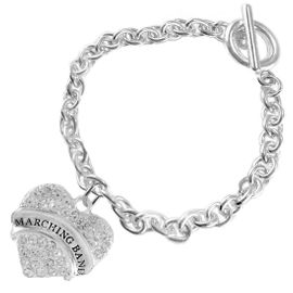 """<BR>           SCHOOL MARCHING BAND JEWELRY     <br>                          HYPOALLERGENIC     <BR>           NICKEL, LEAD & CADMIUM FREE!!     <BR>       W1792B5 - SILVER TONE AND CRYSTAL    <BR>  COVERED """"MARCHING BAND"""" HEART CHARM ON     <BR>        CHAIN LINK TOGGLE CLASP BRACELET    <br>                            $9.68 EACH �2015"""
