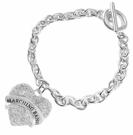 "<BR>           SCHOOL MARCHING BAND JEWELRY     <br>                          HYPOALLERGENIC     <BR>           NICKEL, LEAD & CADMIUM FREE!!     <BR>       W1792B5 - SILVER TONE AND CRYSTAL    <BR>  COVERED ""MARCHING BAND"" HEART CHARM ON     <BR>        CHAIN LINK TOGGLE CLASP BRACELET    <br>                            $9.68 EACH �2015"