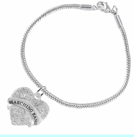 """<BR>            SCHOOL MARCHING BAND JEWELRY      <br>                          HYPOALLERGENIC      <BR>           NICKEL, LEAD & CADMIUM FREE!!      <BR>       W1792B7 - SILVER TONE AND CRYSTAL     <BR>  COVERED """"MARCHING BAND"""" HEART CHARM ON      <BR>      SNAKE CHAIN LOBSTER CLASP BRACELET     <br>                            $9.68 EACH �2015"""