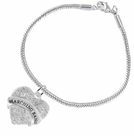 "<BR>            SCHOOL MARCHING BAND JEWELRY      <br>                          HYPOALLERGENIC      <BR>           NICKEL, LEAD & CADMIUM FREE!!      <BR>       W1792B7 - SILVER TONE AND CRYSTAL     <BR>  COVERED ""MARCHING BAND"" HEART CHARM ON      <BR>      SNAKE CHAIN LOBSTER CLASP BRACELET     <br>                            $9.68 EACH �2015"