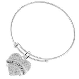 """<BR>           SCHOOL MARCHING BAND JEWELRY      <br>                          HYPOALLERGENIC      <BR>           NICKEL, LEAD & CADMIUM FREE!!      <BR>       W1792B9 - SILVER TONE AND CRYSTAL     <BR>  COVERED """"MARCHING BAND"""" HEART CHARM ON      <BR>      SNAKE CHAIN LOBSTER CLASP BRACELET     <br>                                $9.68 �2015"""
