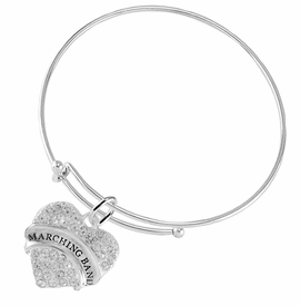 "<BR>           SCHOOL MARCHING BAND JEWELRY      <br>                          HYPOALLERGENIC      <BR>           NICKEL, LEAD & CADMIUM FREE!!      <BR>       W1792B9 - SILVER TONE AND CRYSTAL     <BR>  COVERED ""MARCHING BAND"" HEART CHARM ON      <BR>      SNAKE CHAIN LOBSTER CLASP BRACELET     <br>                                $9.68 �2015"