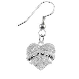 """<BR>         SCHOOL MARCHING BAND EARRINGS      <br>                          HYPOALLERGENIC      <BR>           NICKEL, LEAD & CADMIUM FREE!!      <BR>       W1792E1 - SILVER TONE AND CRYSTAL     <BR>  COVERED """"MARCHING BAND"""" HEART CHARM ON      <BR>      STAINLESS STEEL FISH HOOK EARRINGS     <br>                              $10.68 �2015"""