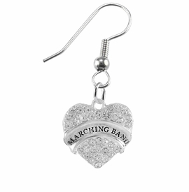 "<BR>         SCHOOL MARCHING BAND EARRINGS      <br>                          HYPOALLERGENIC      <BR>           NICKEL, LEAD & CADMIUM FREE!!      <BR>       W1792E1 - SILVER TONE AND CRYSTAL     <BR>  COVERED ""MARCHING BAND"" HEART CHARM ON      <BR>      STAINLESS STEEL FISH HOOK EARRINGS     <br>                              $10.68 �2015"