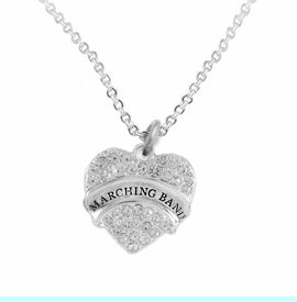 """<BR>           SCHOOL MARCHING BAND JEWELRY      <br>            ADJUSTABLE - HYPOALLERGENIC      <BR>           NICKEL, LEAD & CADMIUM FREE!!      <BR>       W1792N1 - SILVER TONE AND CRYSTAL     <BR>  COVERED """"MARCHING BAND"""" HEART CHARM ON      <BR>       CHAIN LINK LOBSTER CLASP NECKLACE <br>                             $9.68 EACH �2015"""