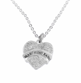 "<BR>           SCHOOL MARCHING BAND JEWELRY      <br>            ADJUSTABLE - HYPOALLERGENIC      <BR>           NICKEL, LEAD & CADMIUM FREE!!      <BR>       W1792N1 - SILVER TONE AND CRYSTAL     <BR>  COVERED ""MARCHING BAND"" HEART CHARM ON      <BR>       CHAIN LINK LOBSTER CLASP NECKLACE <br>                             $9.68 EACH �2015"