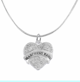 """<BR>           SCHOOL MARCHING BAND JEWELRY      <br>           ADJUSTABLE -  HYPERALLERGENIC <BR>            NICKLE, LEAD & CADMIUM FREE!!      <BR>       W1792N2 - SILVER TONE AND CRYSTAL     <BR>  COVERED """"MARCHING BAND"""" HEART CHARM ON      <BR>      SNAKE CHAIN LOBSTER CLASP NECKLACE <br>                              $9.68 EACH �2015"""