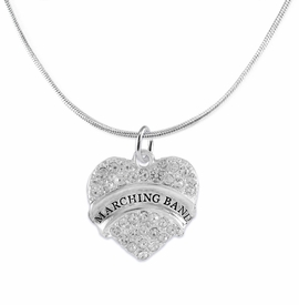 "<BR>           SCHOOL MARCHING BAND JEWELRY      <br>           ADJUSTABLE -  HYPERALLERGENIC <BR>            NICKLE, LEAD & CADMIUM FREE!!      <BR>       W1792N2 - SILVER TONE AND CRYSTAL     <BR>  COVERED ""MARCHING BAND"" HEART CHARM ON      <BR>      SNAKE CHAIN LOBSTER CLASP NECKLACE <br>                              $9.68 EACH �2015"