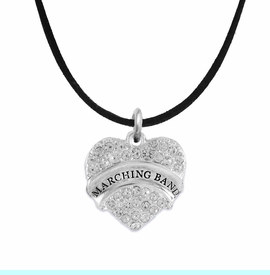 """<BR>           SCHOOL MARCHING BAND JEWELRY      <br>              ADJUSTABLE - HYPOALLERGENIC      <BR>           NICKEL, LEAD & CADMIUM FREE!!      <BR>       W1792N3 - SILVER TONE AND CRYSTAL     <BR>  COVERED """"MARCHING BAND"""" HEART CHARM ON      <BR>        BLACK SUEDE LEATHERETTE NECKLACE <br>                         $9.68 EACH  �2015"""