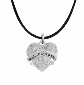 "<BR>           SCHOOL MARCHING BAND JEWELRY      <br>              ADJUSTABLE - HYPOALLERGENIC      <BR>           NICKEL, LEAD & CADMIUM FREE!!      <BR>       W1792N3 - SILVER TONE AND CRYSTAL     <BR>  COVERED ""MARCHING BAND"" HEART CHARM ON      <BR>        BLACK SUEDE LEATHERETTE NECKLACE <br>                         $9.68 EACH  �2015"