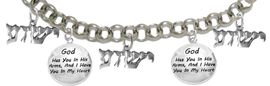 """MESSIANIC """"GOD HAS YOU IN HIS ARMS, AND I HAVE YOU IN MY HEART"""", <BR>& """"YESHUA"""" BRACELET <BR>CLICK HERE TO OPEN, AND CLICK ON PICTURE TO SEE DETAIL<br>     <br>W1793-1677-1793-1677-1793B2     <br> ADJUSTABLE - NICKLE, CADIUM, LEAD FREE<br> ON A ROLLO CHAIN $11.83 EACH �2019"""