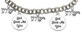 """MESSIANIC """"GOD GAVE ME, YOU"""", <BR>& """"YESHUA"""" CHARM BRACELET <BR>CLICK HERE TO OPEN, AND CLICK ON PICTURE TO SEE DETAIL<br>     <br>W1793-1922-1793-1922-1793B2     <br> ADJUSTABLE - NICKLE, CADIUM, LEAD FREE<br> ON A ROLLO CHAIN $11.83 EACH �2019"""