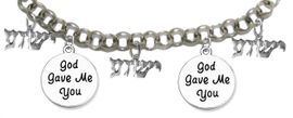 "MESSIANIC ""GOD GAVE ME, YOU"", <BR>& ""YESHUA"" CHARM BRACELET <BR>CLICK HERE TO OPEN, AND CLICK ON PICTURE TO SEE DETAIL<br>     <br>W1793-1922-1793-1922-1793B2     <br> ADJUSTABLE - NICKLE, CADIUM, LEAD FREE<br> ON A ROLLO CHAIN $11.83 EACH �2019"