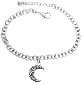 <BR>         WHOLESALE COSTUME CHARM JEWELRY  <BR>                      EXCLUSIVELY OURS!!     <Br>                 AN ALLAN ROBIN DESIGN!!    <br>                          HYPOALLERGENIC  <BR>            NICKEL, LEAD & CADMIUM FREE!     <BR>W1794B2 - ANTIQUED CRESCENT MOON CHARM ON  <BR>     CHAIN LINK LOBSTER CLASP BRACELET  <BR>              FROM $6.23 TO $11.75 �2015