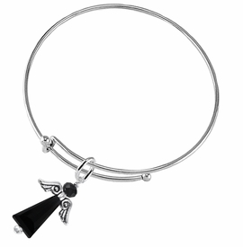 <BR>      WHOLESALE COSTUME ANGEL JEWELRY <BR>                   EXCLUSIVELY OURS!!    <Br>              AN ALLAN ROBIN DESIGN!!    <br>                       HYPOALLERGENIC <BR>         NICKEL, LEAD & CADMIUM FREE!    <BR> W1795B9 - JET CRYSTAL ANGEL CHARM ON <BR>  ADJUSTABLE THIN SOLID WIRE BRACELET <BR>           FROM $7.90 TO $12.50 �2015