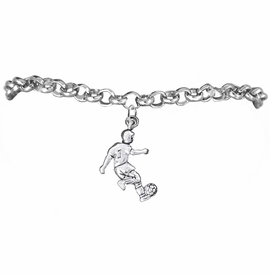 <BR>       WHOLESALE SOCCER TEAM SPORTS JEWELRY    <BR>                         EXCLUSIVELY OURS!!         <Br>                    AN ALLAN ROBIN DESIGN!!        <BR>                             HYPOALLERGENIC      <BR>               NICKEL, LEAD & CADMIUM FREE!         <BR>W1806B2 - 3D KICKING SOCCER PLAYER CHARM ON      <BR>     CHAIN LINK BRACELET WITH LOBSTER CLASP  <BR>                 FROM $6.23 TO $11.75 �2016