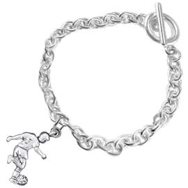 <BR>       WHOLESALE SOCCER TEAM SPORTS JEWELRY    <BR>                         EXCLUSIVELY OURS!!         <Br>                    AN ALLAN ROBIN DESIGN!!        <BR>                             HYPOALLERGENIC      <BR>               NICKEL, LEAD & CADMIUM FREE!         <BR>W1806B5 - 3D KICKING SOCCER PLAYER CHARM ON      <BR>     CHAIN LINK BRACELET WITH TOGGLE CLASP  <BR>                 FROM $6.23 TO $11.75 �2016