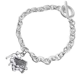 <BR>       WHOLESALE SOCCER TEAM SPORTS JEWELRY     <BR>                         EXCLUSIVELY OURS!!          <Br>                    AN ALLAN ROBIN DESIGN!!         <BR>                             HYPOALLERGENIC       <BR>               NICKEL, LEAD & CADMIUM FREE!          <BR>   W1807B5 - 3D SOCCER GOALIE SAVE CHARM ON       <BR>      CHAIN LINK BRACELET WITH TOGGLE CLASP   <BR>                 FROM $6.23 TO $11.75 �2016