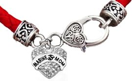 <BR><B>MARINE MOM GENUINE CRYSTAL HEART</B><br>      <br>GENUINE RED WOVEN LEATHER BRACELET <BR>VINTAGE ANTIQUE SILVER LOBSTER CLASP<BR>NO NICKEL, NO LEAD, AND NO POISONOUS CADMIUM <br>W1810B36  $11.68 EACH  �2018