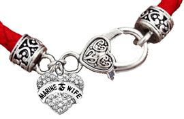<BR><B>MARINE WIFE GENUINE CRYSTAL HEART</B><br>      <br>GENUINE RED WOVEN LEATHER BRACELET <BR>VINTAGE ANTIQUE SILVER LOBSTER CLASP<BR>NO NICKEL, NO LEAD, AND NO POISONOUS CADMIUM <br>W1811B36  $11.68 EACH  �2018