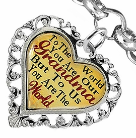 "<BR>         <i>""TO THE WORLD YOU ARE OUR GRANDMA,   <BR>                  BUT TO US YOU ARE THE WORLD""</i>  <BR>          BEAUTIFUL WORDS, BEAUTIFUL BRACELET  <BR> HYPOALLERGENIC, NICKEL, LEAD, CADMIUM  FREE!  <BR>W1819B2 - ""GRANDMA"" HEART CHARM ON CHAIN LINK <BR>          BRACELET FROM $7.90 TO $12.50 �2016"